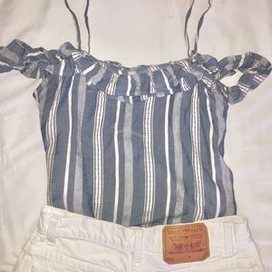Hollister Off the Shoulder Ruffle Striped Top